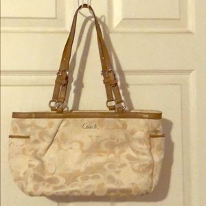Coach white/cream and tan shoulder purse